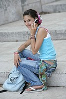 Teenage girl mobile phone