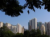 Modern skyline of Hongkong seen from Victoria Park, Hongkong, China