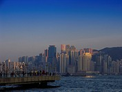 Viewpoint in Kowloon with Victoria Harbour and the skyline of Hongkong_Island, Hongkong, China
