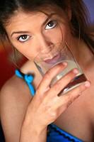 Woman glass milk