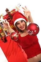 Woman Christmas balls