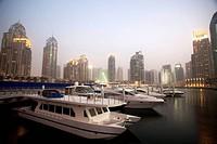 Dubai Marina at dusk, Dubai, United Arabian Emirates