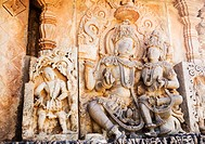 Bas relief on a temple, Halebidu, Hassan District, Karnataka, India