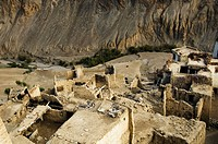 High angle view of a ruined village near a monastery, Lamayuru Monastery, Ladakh, Jammu and Kashmir, India