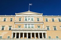 Low angle view of a building, Parliament Building, Syntagma Square, Athens, Greece