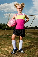 Blond girl wearing football dress