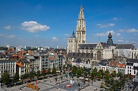 Belgium _ Flanders _ Antwerp _ View on the Groenplaats Green Square and the Cathedral of Our Lady Onze_Lieve_Vrouwekathedraal