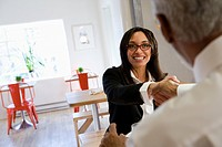Mixed race businesswoman shaking hands with co_worker