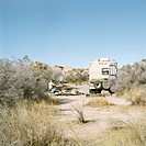 Camper at rest stop with mobile home, Joshua Tree National Park, USA
