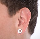 man with ear piercing