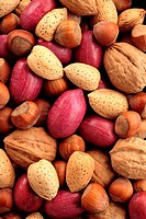 Variety of nuts: peacans, walnuts, almond and hazelnuts, full frame