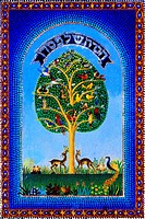 Hagadah Passover Judaism Cover With Tree Of Life