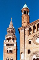 Italy, Lombardy, Cremona, Cathedral background Torrazzo Bell Tower