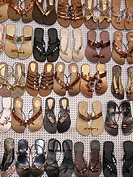 Traditional leather Foot wears on display outside a shop  Pune, Maharashtra, India