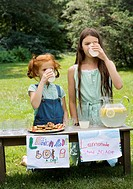 Two girls with a lemonade stand