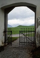 View through a gate of mountain ranges