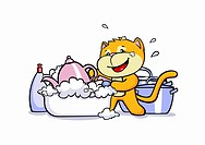A cartoon cat doing the washing up