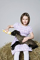 A girl feeding a black lamb, studio shot