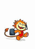 A lion talking on a mobile phone and carrying a briefcase