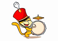 A cat wearing a marching band hat and playing a drum