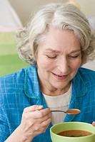 Senior woman soup