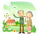 Senior couple standing in garden