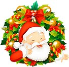 Close_up of Santa Claus with wreath, laughing