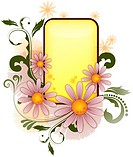 Rectangle shape amid floral pattern