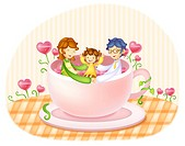 Parents with daughter sitting inside of tea cup, smiling
