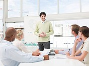 Young businessman holding presentation for colleagues