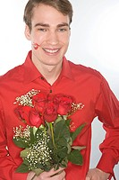 Romantic man with red roses