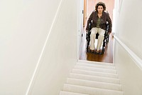 Disabled woman trapped at bottom of stairs (thumbnail)