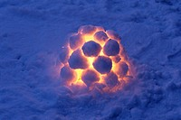 A lantern made out of snowballs.