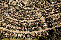 Stony Plain, Alberta, Canada, Aerial view of residential district