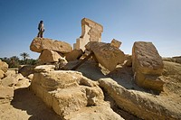 Siwa Oasis, Egypt, A local man stands on the Temple of Umm Ubayd