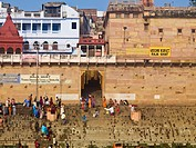 The Ganges,Varanasi,India,People on the ghats that lead to the river