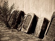 Jewtown,Cochin,Kerala,India,Gravestones leaning against a synagogue