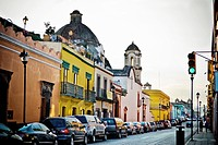 Mexico,Street scene with colorful buildings