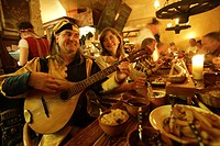 Luther room, Eisenacher Hof hotel, Luther feast with music from lute and shawm, Eisenach, Thueringen, Germany