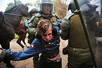 Santiago Chile May 13 2009 Chilean police assaulted a student for shouting slogans and demonstrations in protest against the new education law under d...