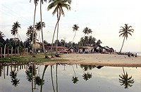 Beach and homes, Beruwala, Sri Lanka