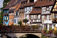 Half_timbered houses in Little Venice, la Petite Venise, Colmar, Alsace, France