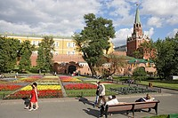 Alexander garden and Troitskaya Tower, Moscow, Russia