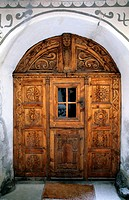 Entrance door in the old town of Scuol, Lower Engadine, Engadine, Switzerland