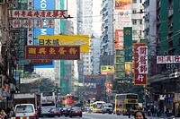 Street setting, Hennessy Road on Hong Kong Island, Wan Chai, Hong Kong, China, Asia