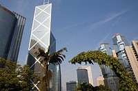 View at the Bank of China under blue sky, Chung Wan, Central district, Hong Kong Island, Hong Kong, China, Asia