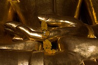 Hands of a golden Buddha Statue in Bagan, Myanmar, Burma
