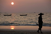 Fisher at sunset in Ngapali Beach, Gulf of Bengal, Rakhine State, Myanmar, Burma