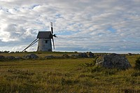Coastal landscape and windmill near Hemse, Gotland, Sweden, Scandinavia, Europe