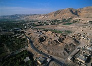 Aerial photograph of the ancient mound of Jericho near the Dead sea